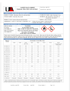 United Aluminum Safety Data Sheet