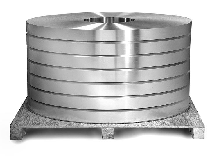 Coil of 2024 Aluminum Alloy on a pallet.